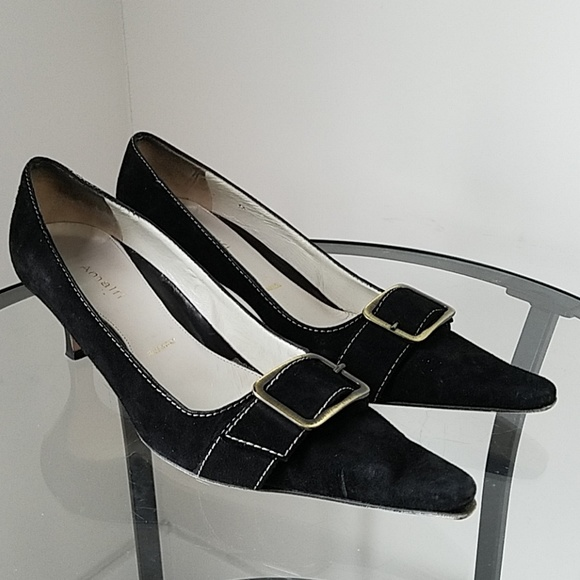 3b226fa9e195d Make an Offer! Amalfi Black Suede Pump with Buckle